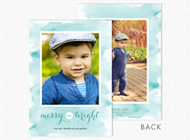 Watercolor Border Flat 2-Photo Holiday Cards